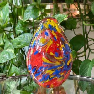 Hand Blown Glass Egg Paperweight